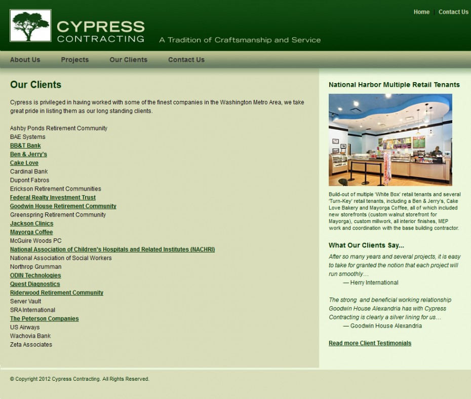 Cypress Contracting Interior Page