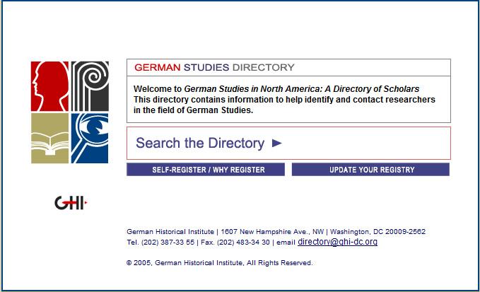 German Studies Directory Home Page