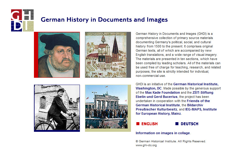 German History in Documents and Images Home Page