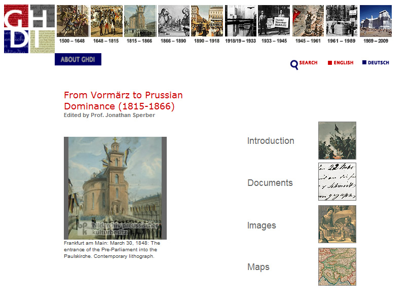 German History in Documents and Images Section Page