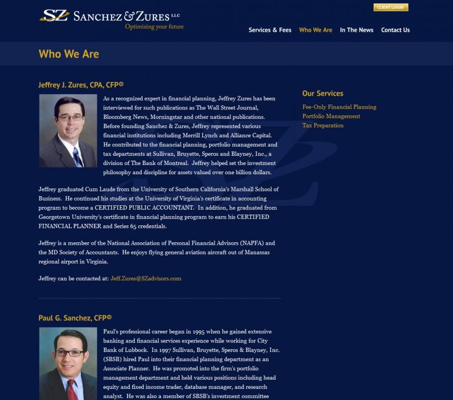 SZ Advisors Interior Page