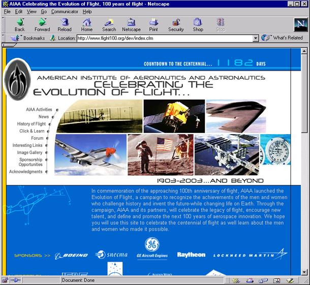 Flight 100 homepage