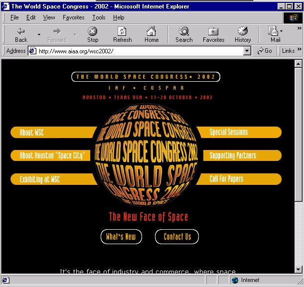 World Space Congress 2002 homepage