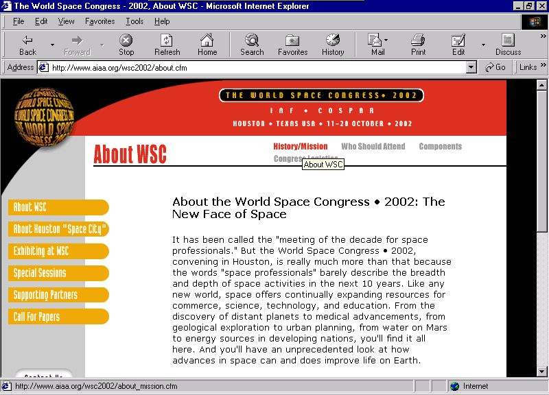 World Space Congress 2002 interior page