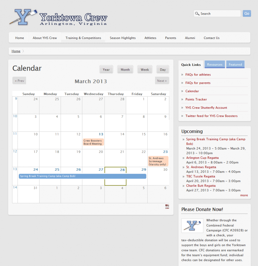 Yorktown Crew Boosters Calendar page